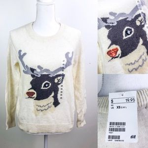H&M Sequin Reindeer Sweater